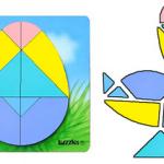 yumurta tangram ile yapılan şekiller