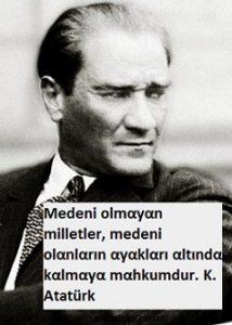Atatürk'ün medeniyet ile ilgili sözleri