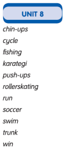unit  8 kelimeleri
