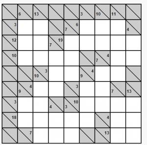 kolay 8x8 kakuro bulmacası örneği