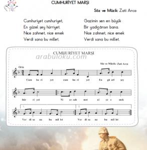 cumhuriyet marşı flüt notaları