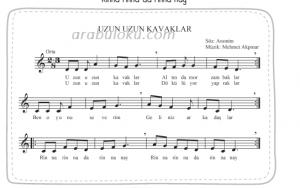 uzun uzun kavaklar blok flüt notaları