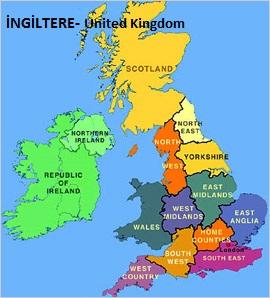 İngiltere haritasi, United Kingdom map