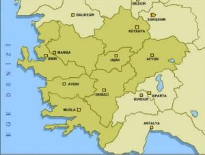 ege bölgesindeki şehirler