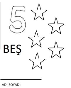 beş rakamı boyama