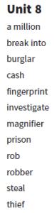 6.sınıf 8 ünite ingilizce kelimeleri