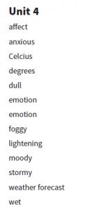 6. sınıf 4. ünite kelimeleri