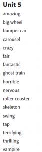 6. sınıf 5. ünite kelimeleri