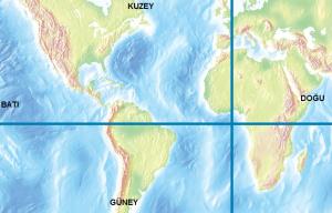 Dünya haritası üzerinde Başlangıç Meridyeni ve Ekvator